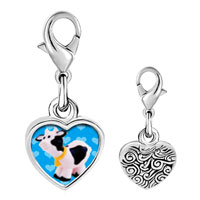 Link Charm Bracelet - 925  sterling silver toy cow photo heart frame link charm Image.