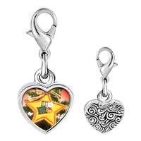 Link Charm Bracelet - 925  sterling silver quilted star ornament photo heart frame link charm Image.