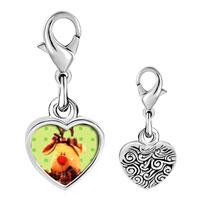 Link Charm Bracelet - 925  sterling silver christmas rudolph reindeer photo heart frame link charm Image.