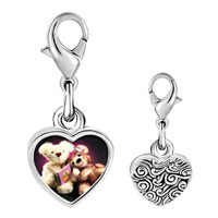 Link Charm Bracelet - 925  sterling silver teddy bear story time photo heart frame link charm Image.