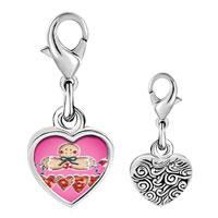 Link Charm Bracelet - 925  sterling silver gingerbread noel photo heart frame link charm Image.