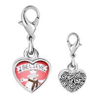 Link Charm Bracelet - 925  sterling silver i believe snowman photo heart frame link charm Image.