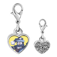 Link Charm Bracelet - 925  sterling silver snowman doll photo heart frame link charm Image.