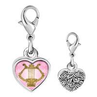 Link Charm Bracelet - 925  sterling silver golden lyre photo heart frame link charm Image.