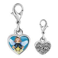 Link Charm Bracelet - 925  sterling silver angel with star photo heart frame link charm Image.