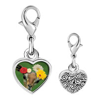 Link Charm Bracelet - 925  sterling silver doe with flowers photo heart frame link charm Image.