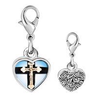 Link Charm Bracelet - 925  sterling silver ivory crcifix on cross photo heart frame link charm Image.