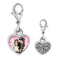 Link Charm Bracelet - 925  sterling silver little bride &  groom photo heart frame link charm Image.