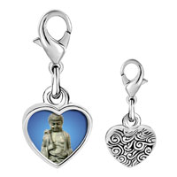 Link Charm Bracelet - 925  sterling silver stone buddha photo heart frame link charm Image.