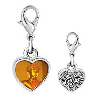 Link Charm Bracelet - 925  sterling silver gold buddha photo heart frame link charm Image.