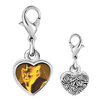 Link Charm Bracelet - 925  sterling silver egyptian great sphinx photo heart frame link charm Image.