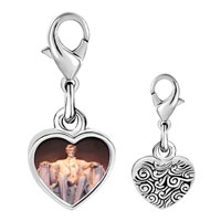 Link Charm Bracelet - 925  sterling silver lincoln memorial washington dc photo heart frame link charm Image.