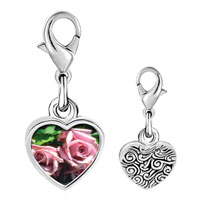 Link Charm Bracelet - 925  sterling silver dusty pink roses photo heart frame link charm Image.