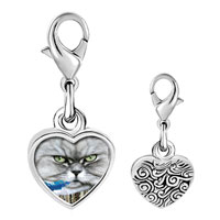 Link Charm Bracelet - 925  sterling silver bad cat photo heart frame link charm Image.