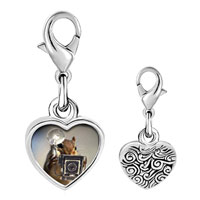 Link Charm Bracelet - 925  sterling silver squirrel taking photos photo heart frame link charm Image.