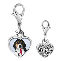 Link Charm Bracelet - 925  sterling silver puppy wearing red ribbon photo heart frame link charm Image.