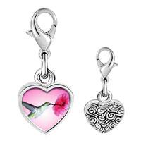 Link Charm Bracelet - 925  sterling silver hummingbird photo heart frame link charm Image.