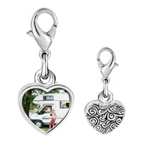 Link Charm Bracelet - 925  sterling silver motor home vacation photo heart frame link charm Image.