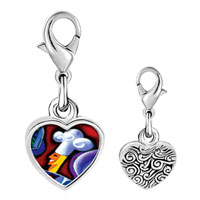Link Charm Bracelet - 925  sterling silver chef art photo heart frame link charm Image.