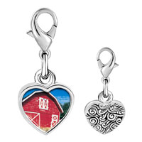 Link Charm Bracelet - 925  sterling silver red barn photo heart frame link charm Image.