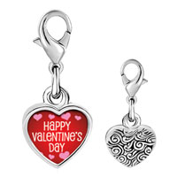 Link Charm Bracelet - 925  sterling silver happy valentine' s day photo heart frame link charm Image.