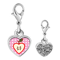 Link Charm Bracelet - 925  sterling silver sliced heart apple photo heart frame link charm Image.