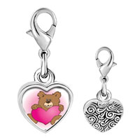 Link Charm Bracelet - 925  sterling silver brown teddy bear with heart photo heart frame link charm Image.