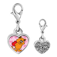 Link Charm Bracelet - 925  sterling silver cat with valentine photo heart frame link charm Image.