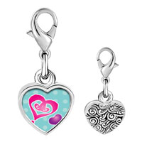 Link Charm Bracelet - 925  sterling silver painted hearts photo heart frame link charm Image.