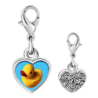 Link Charm Bracelet - 925  sterling silver yellow rubber duck photo heart frame link charm Image.