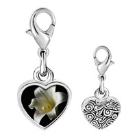 Link Charm Bracelet - 925  sterling silver white lily photo heart frame link charm Image.