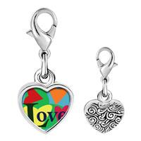 Link Charm Bracelet - 925  sterling silver hearts of love photo heart frame link charm Image.