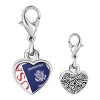 Link Charm Bracelet - 925  sterling silver usa passport blue photo heart frame link charm Image.