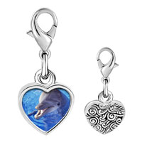 Link Charm Bracelet - 925  sterling silver smiling dolphin photo heart frame link charm Image.