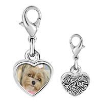 Link Charm Bracelet - 925  sterling silver shih tzu dog photo heart frame link charm Image.