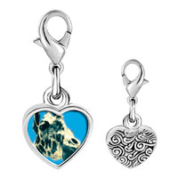 Link Charm Bracelet - 925  sterling silver giraffe with tongue photo heart frame link charm Image.