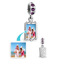 February Birthstone Purple Crystal Round Dangle Custom Photo Frame Beads Charms Bracelets