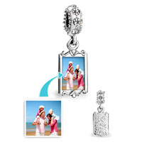 April Birthstone Clear Crystal Round Dangle Custom Photo Frame Beads Charms Bracelets