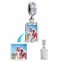 June Birthstone Pale Purple Crystal Round Dangle Custom Photo Frame Beads Charms Bracelets