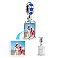 September Birthstone Sapphire Crystal Round Dangle Custom Photo Frame Beads Charms Bracelets