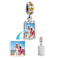November Birthstone Citrine Topaz Crystal Round Dangle Custom Photo Frame Beads Charms Bracelets