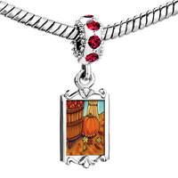 Charms Beads - red crystal dangle autumn jack o lantern halloween pumpkin Image.