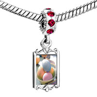 Charms Beads - red crystal dangle bowl easter eggs fit &  bracelet Image.