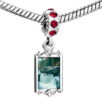Charms Beads - red crystal dangle waterfall paradise Image.