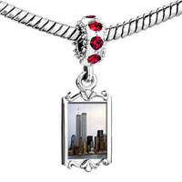Charms Beads - red crystal dangle new york twin towers Image.