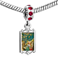 Charms Beads - red crystal dangle the mourning christ art Image.