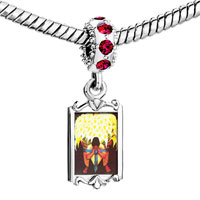 Charms Beads - red crystal dangle diego rivera' s el vendedor de alcatraces Image.