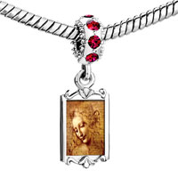 Charms Beads - red crystal dangle da vinci picture Image.