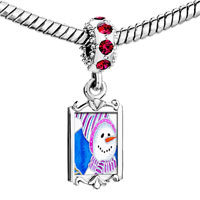Charms Beads - red crystal dangle striped hat snowman Image.