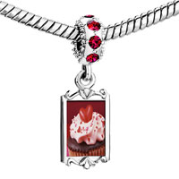 Charms Beads - red crystal dangle chocolate cupcake love Image.